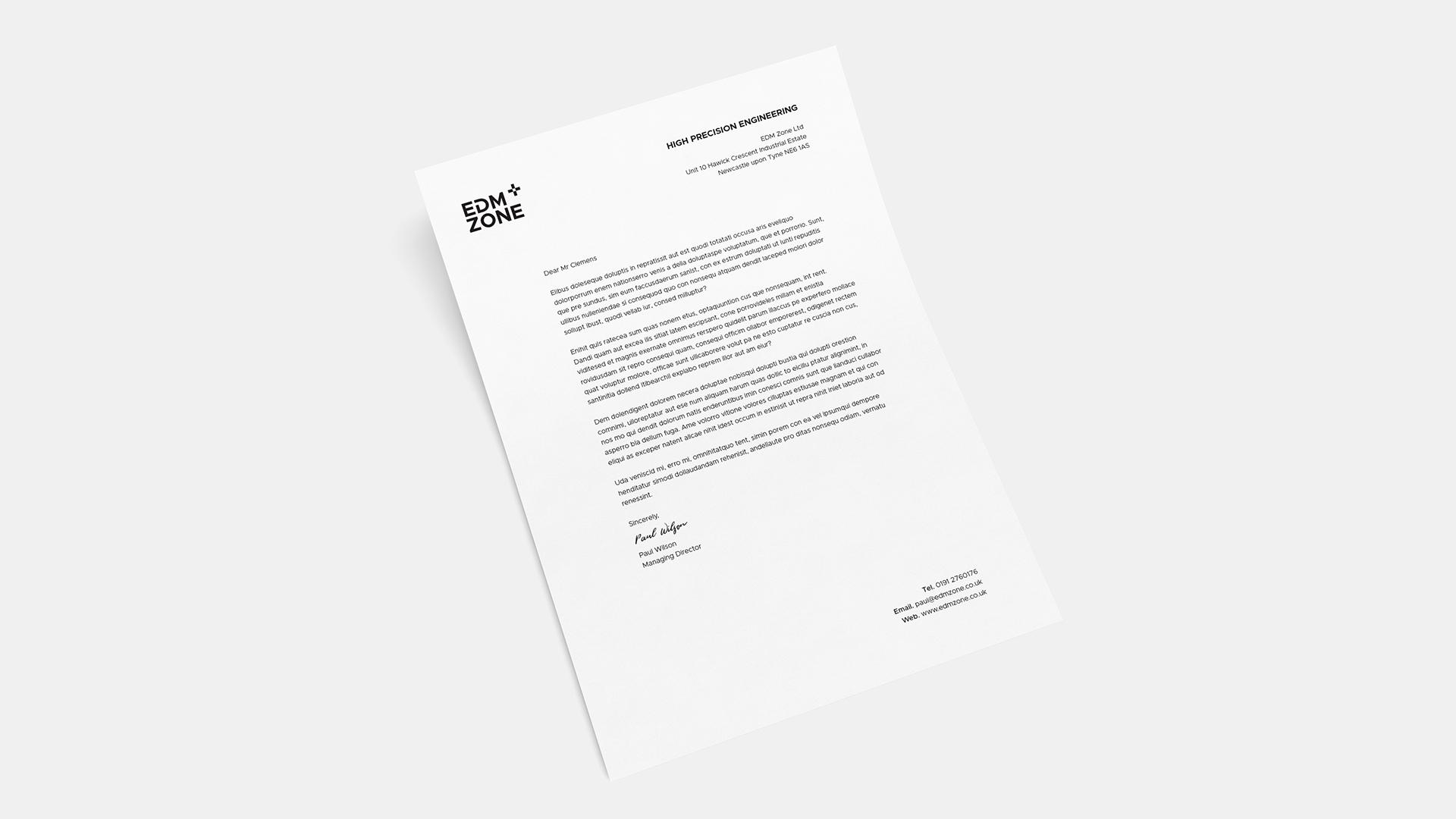 EDM Zone letterhead - design for print